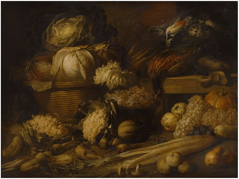 Peter_van_Boucle_–_Still_life_with_cabbage,_celery,_grapes_and_game